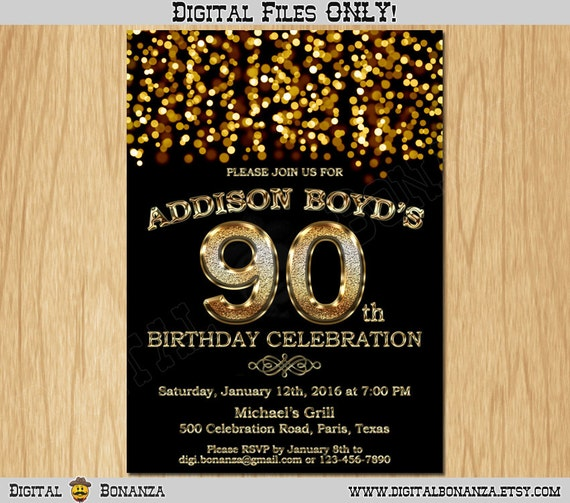 90th Birthday Invitation Gold Glitter Party Elegant Ninety Invite Black Chalkboard White Sparkles Posh ABG02 90