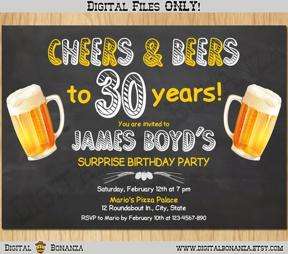 30th Birthday Invitation Cheers Beers Invite Surprise Chalkboard Beer Party Big 30 Printable Digital AB02