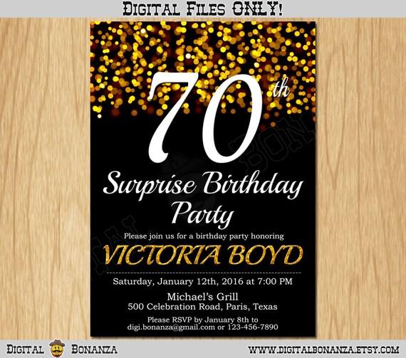 70th Birthday Invitation Gold Glitter Party Elegant