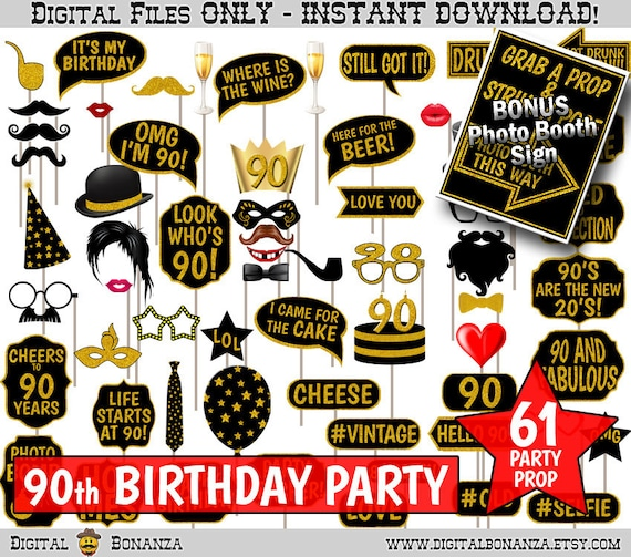 90th Birthday Party Printable Photo Booth Props Black And Gold Glitter Photobooth Selfies Speech Glasses Hats Ties Lips Mustaches