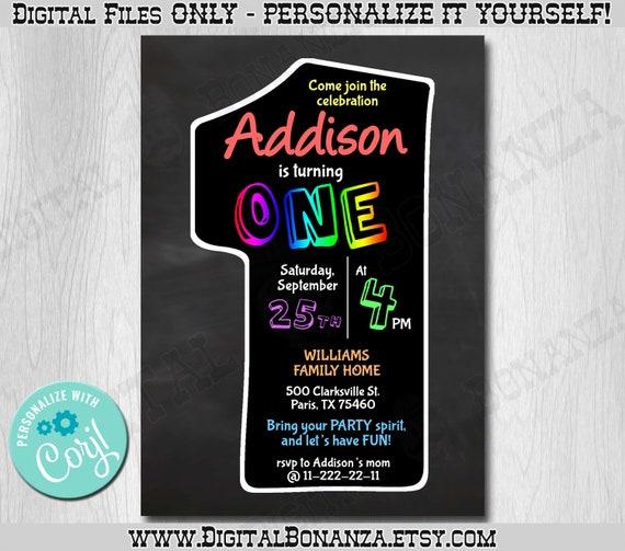 First Birthday Party Invitation Boy Chalkboard: 1st Birthday Invitation Chalkboard. Edit Yourself Online
