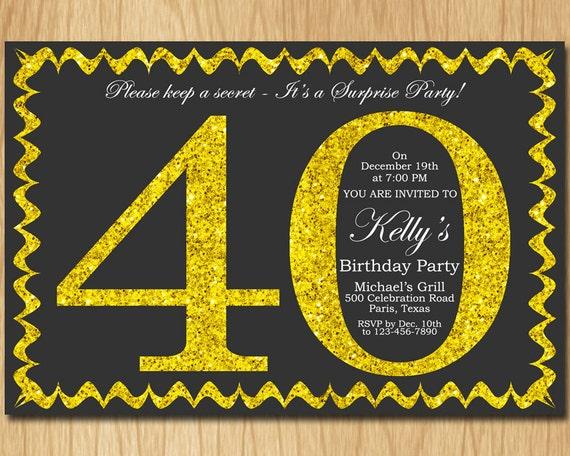 40th Birthday Invitation Gold Glitter Party Invite Adult Elegant Surprise Printable Digital ABGG40