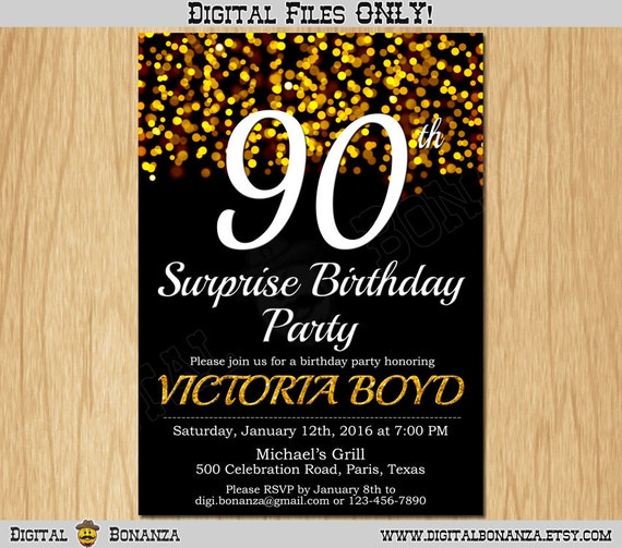 90th Birthday Invitation Gold Glitter Party Elegant