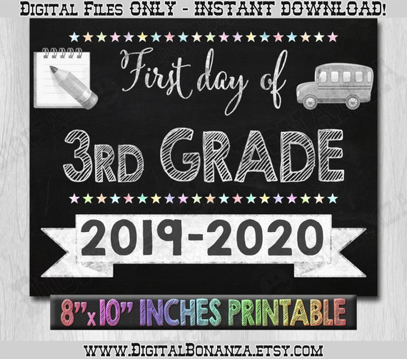photo relating to Printable Chalkboard Signs identified as Very first Working day of 3rd Quality Indicator, Initially Working day of Higher education