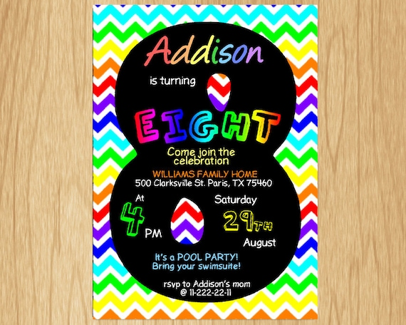 8th Birthday Invitation Rainbow Chevron Pastel Eight Party Invite Boy Or Girl Chalkboard Printable Digital DIY KNB024
