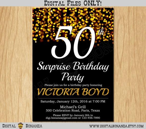 50th Birthday Invitation Gold Glitter Party Elegant Fifty Invite Black Chalkboard White Sparkles Posh ABG01 50