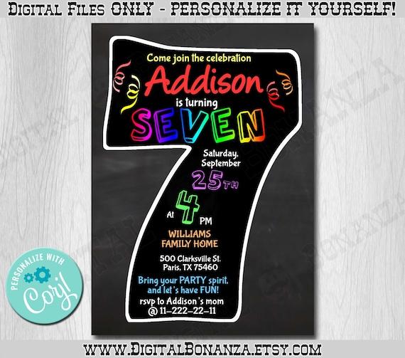 7th Birthday Invitation Chalkboard Edit Yourself Online Seventh Party Invite Boy Or Girl Printable Digital DIY Corjl KNB035c
