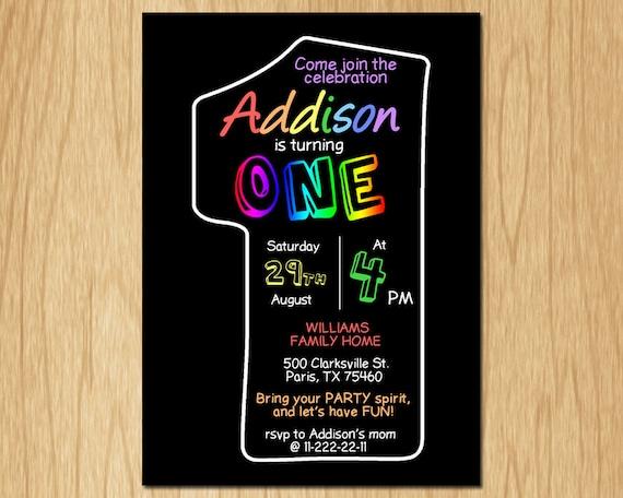 1st Birthday Invitation Rainbow Black First Birthday Party Invite Boy or Girl Chalkboard Printable digital DIY KNB003