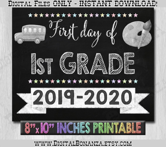 photo about First Day of 1st Grade Printable Sign called Very first Working day of Initially Quality Signal, 1st Working day of College or university