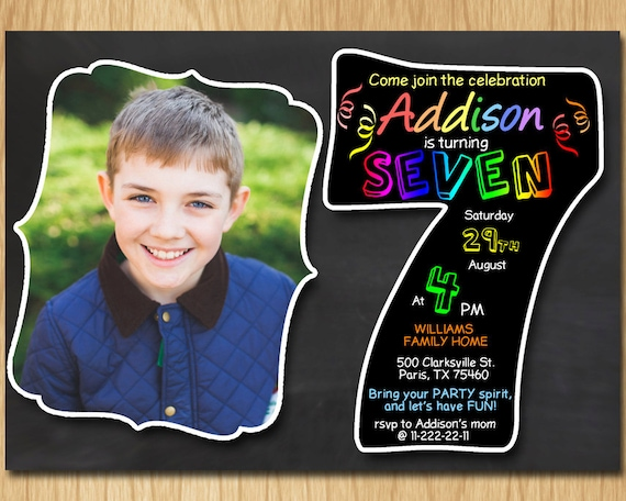 7th Birthday Invitation Chalkboard Invite Rainbow Colors Seventh Party Boy Girl With Custom Photo DIGITAL FILE ONLY KNB036