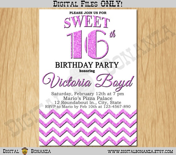 Sweet 16th Birthday Invitation Sixteen White Pale Purple Glitter Party Invite Teen Surprise Printable F16 006pp