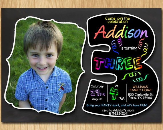 3rd Birthday Invitation Chalkboard Invite Rainbow Colors Third Party Boy Girl With Custom Photo DIGITAL FILE ONLY KNB028