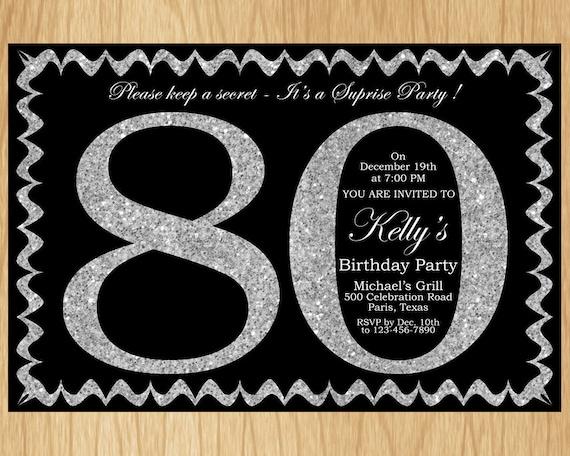 80th Birthday Invitation Silver Glitter Birthday Party Invite Adult