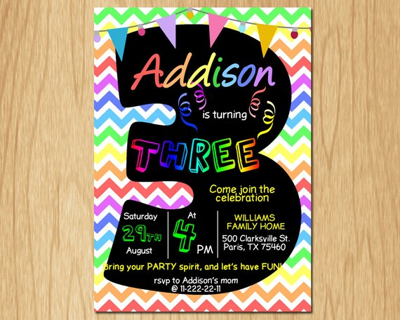 3rd Birthday Invitation Rainbow Chevron Pastel Third Party