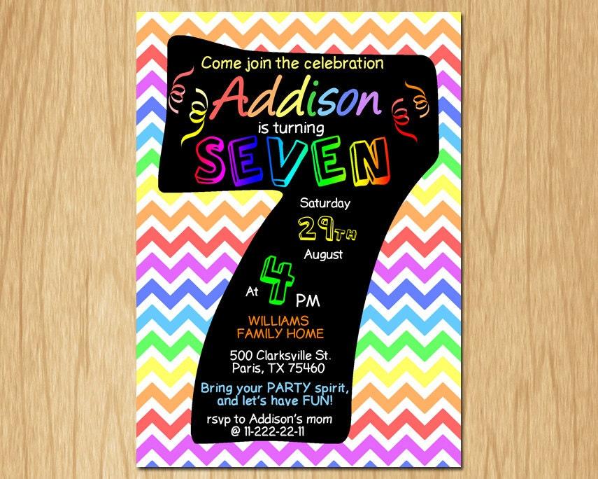 7th Birthday Invitation Rainbow Chevron Pastel Seventh Etsy