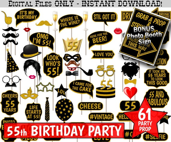 55th Birthday Party Photo Booth Props Black And Gold Glitter Printable Photobooth