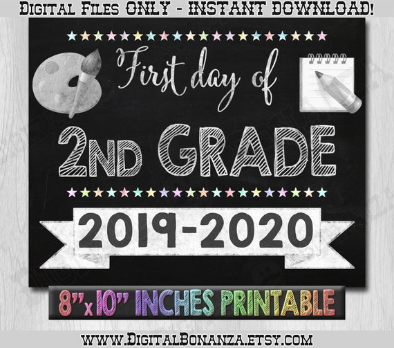image regarding First Day of Second Grade Printable Sign titled Very first Working day of Minute Quality Indication, To start with Working day of Faculty