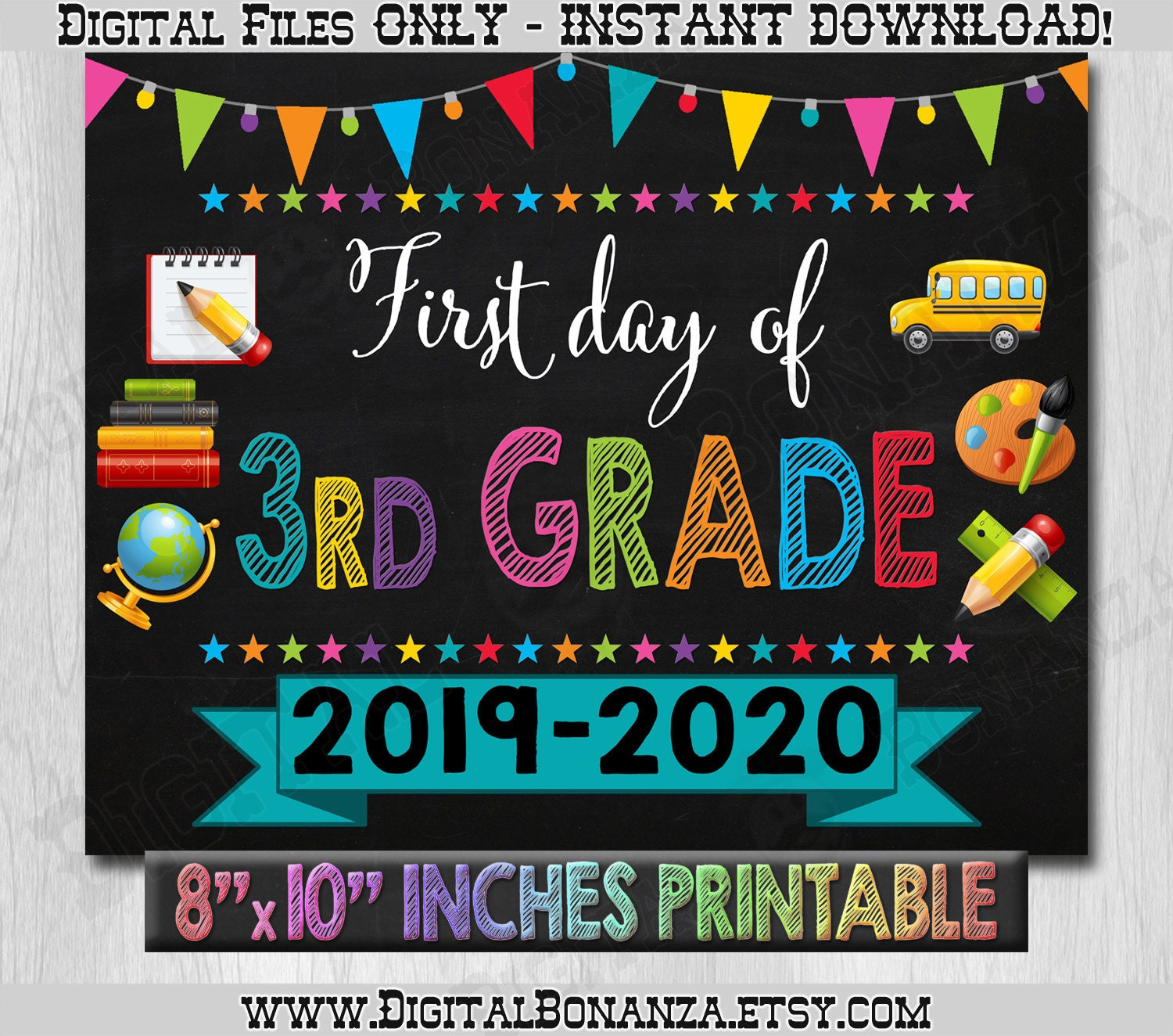 photo relating to First Day of 3rd Grade Sign Printable named Initially Working day of 3rd Quality Signal, To start with Working day of Faculty Shade Chalkboard, Back again Towards Faculty Indicator Printable, Chalkboard Indicator, Do it yourself, 3rd, Printable