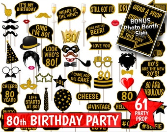 80th Birthday Party Printable Photo Booth Props. Black and Gold Glitter. Photobooth Selfies, Speech, Glasses, Hats, Ties, Lips, Mustaches.