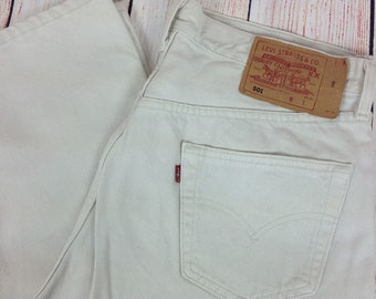 Levis 501 Jeans W35 L30 Cream Made in USA Excellent