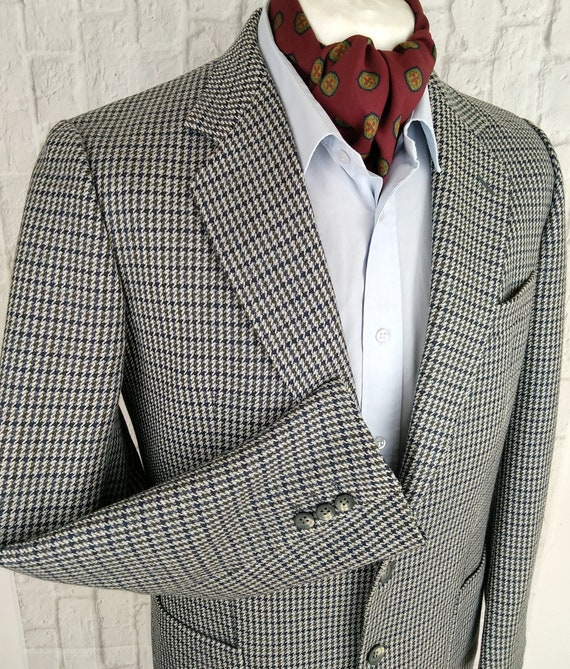 Burberry Tweed Jacket Blazer Dogtooth Check Vintag