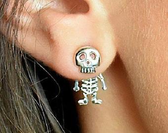 Sterling Silver Skeleton Studs - Skeleton Earrings - Halloween Earrings - Fancy Dress Earrings - Scary Studs - Gifts for Teens