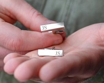 Personalised Initial Bar Engraved Men's Cufflinks - Silver