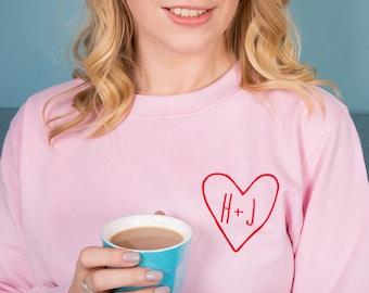 Women s Sweatshirt Jumper - Personalised Couples Initial  PJMPV-009  0303ac4e8