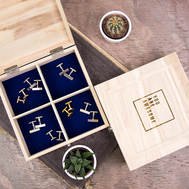 You Are Awesome Wooden Cufflink  Men/'s Accessories Box