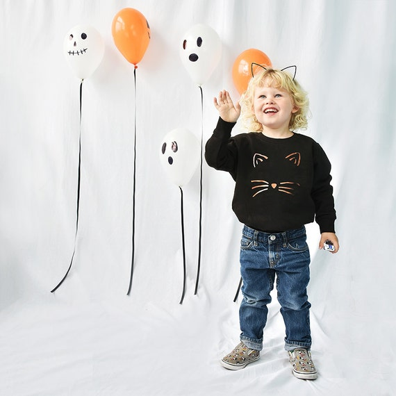 c4c4a7a1de2 Cat Face Halloween Children s Sweatshirt Jumper Kids