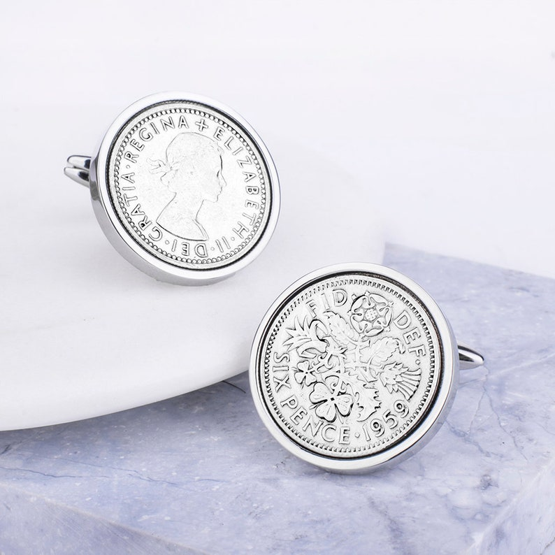 Coins 1959 Sixpence Cufflinks 60th Birthday Present//Gift in Silver
