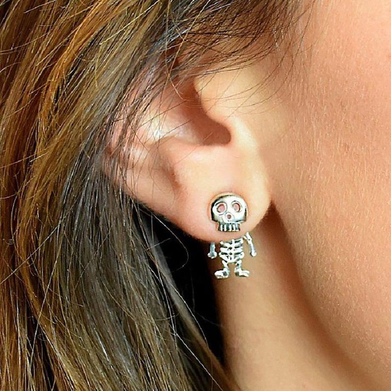 Sterling Silver Skeleton Studs  Skeleton Earrings  Halloween image 0