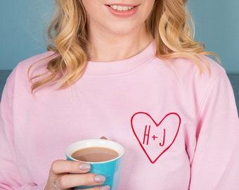 Personalised Couples Initial Women's Sweatshirt Jumper