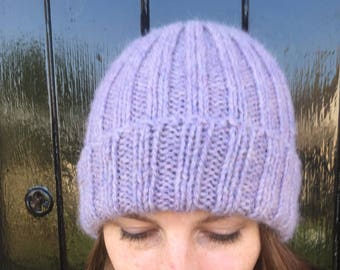 Pure alpaca ribbed hat