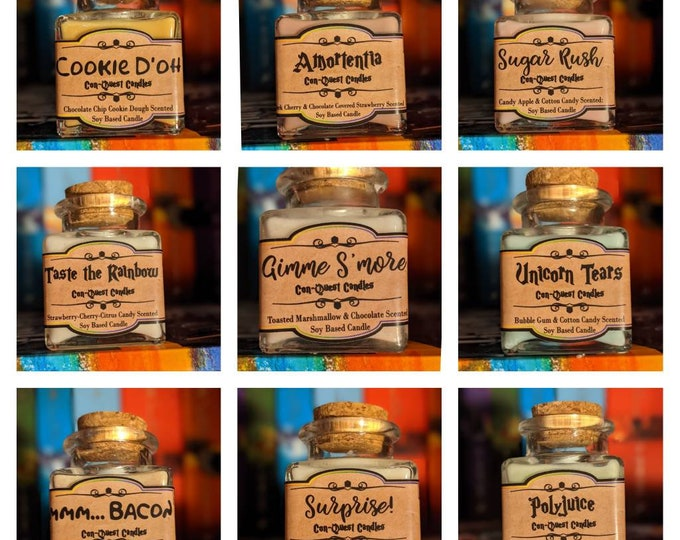Potion Bottle Candles, Inspired by sweet treats and fictional potions. Fragrance and essential oil blend soy based candles.