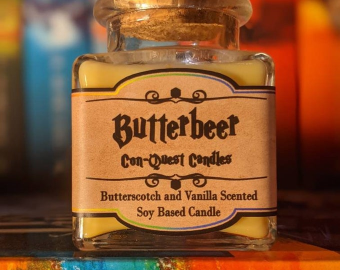 Magical Potion Bottle Candles, Inspired by sweet treats and fictional potions! More aromas available! Butterbeer, amortentia, and more!