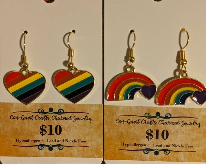 Cute Rainbow Heart Pride Earrings ! Show of your LGBTQ Pride with these cute Earrings!Made by a LGBTQ owned business