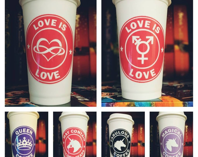 16oz Travel Mugs with Fun Decals! Perfect for gift for pride! Unicorns rainbows and lgbt inspired!
