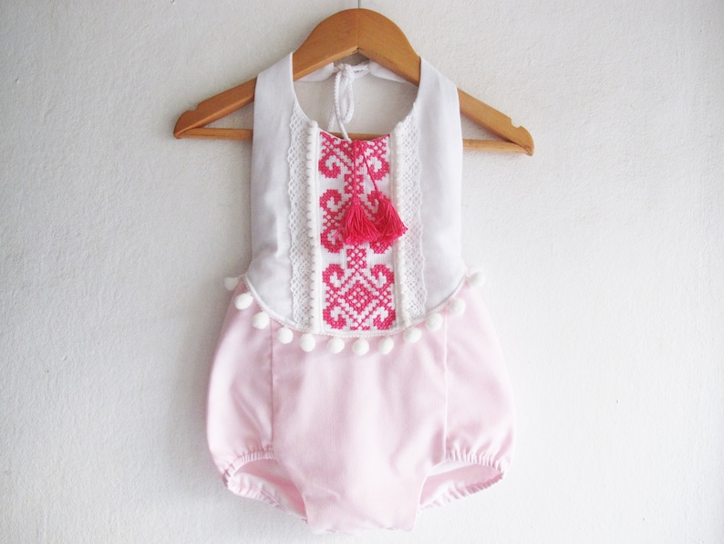 2d18e9ddf Pink Baby Girl Romper/ Boho Chic Sunsuit/ Baby Clothes/ First | Etsy