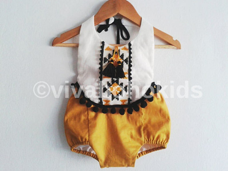 8c0e14ca7 Baby Girl Romper/ Linen Boho Chic Sunsuit/ Baby Clothes/ | Etsy