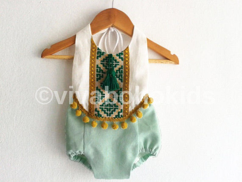 fd764f869 Mint Green Baby Girl Romper/ Linen Boho Chic Sunsuit/ Baby | Etsy