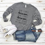 Here Comes Amazon Right down my Driveway shirt | Christmas Shirt | Santa Shirt | Here comes Santa Claus | Christmas Party Shirt
