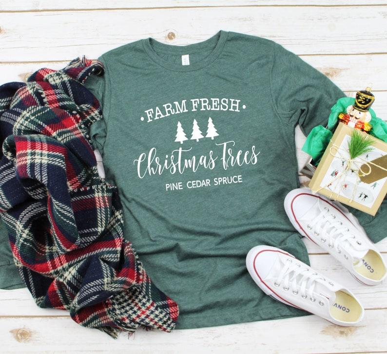 Farm Fresh Christmas Trees  Unisex Shirt  Graphic Long image 0