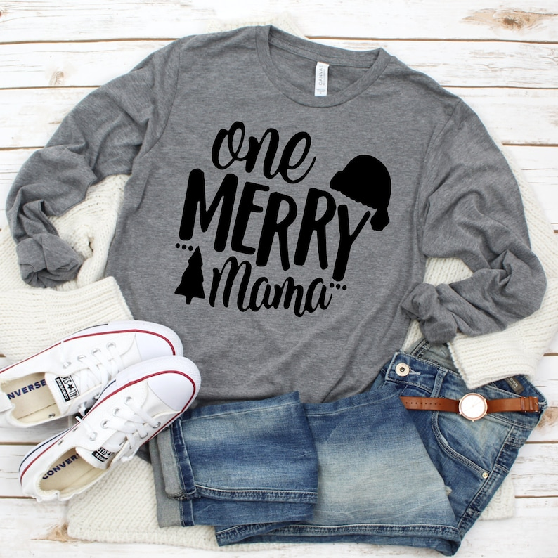 One Merry Mama Shirt  Christmas Shirt  Women's Christmas image 0