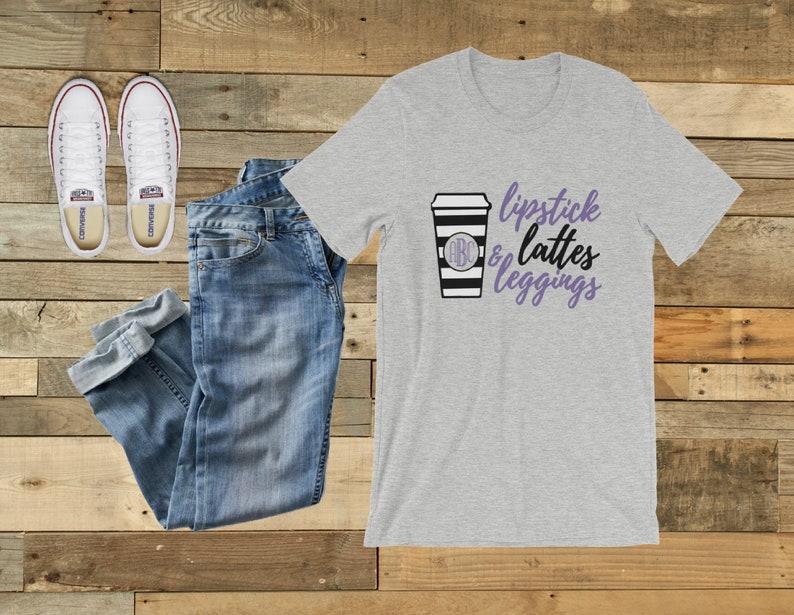 d2455fae5b Monogram lipstick lattes and leggings shirt Coffee Obsessed | Etsy