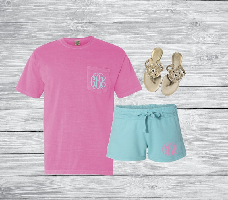 Comfort Colors Monogram Outfit Short Sleeve shirt  Shorts  image 0