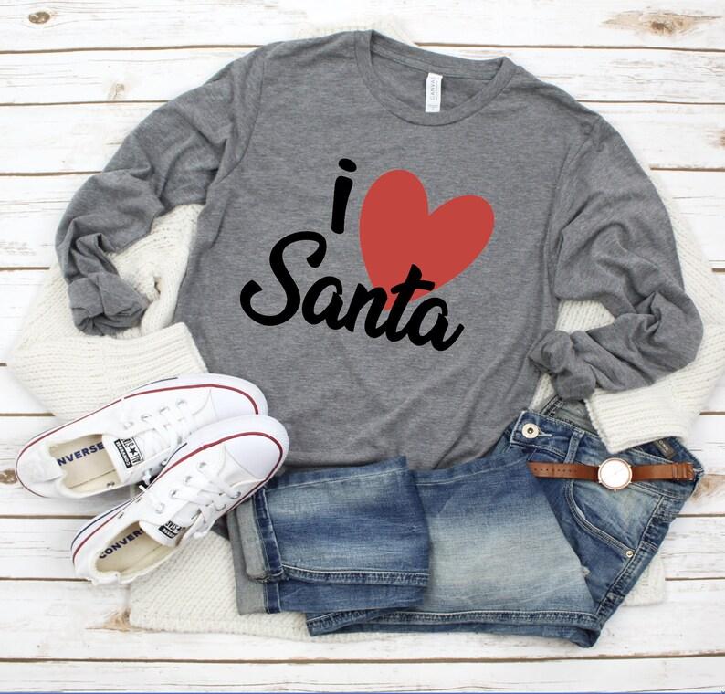 i love Santa Shirt  Winter Shirt  Santa Shirt  Christmas image 0