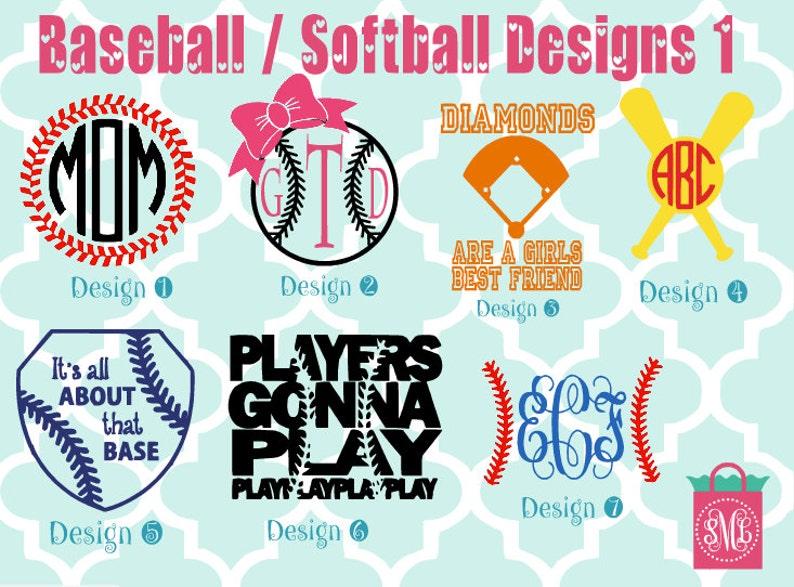 Baseball / Softball vinyl decals  monogram decals  image 0