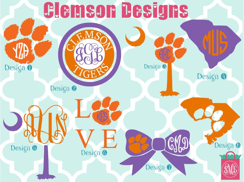 Clemson University vinyl decals  monogram decals  image 0