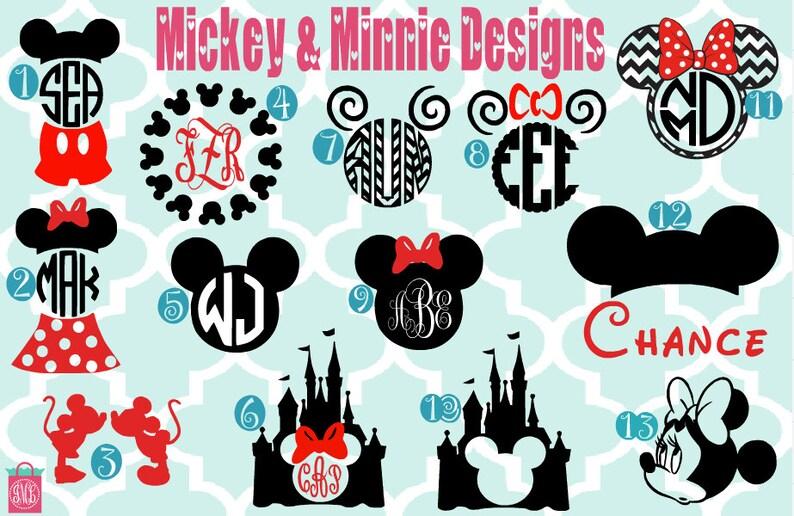 Monogrammed Mickey & Minnie Vinyl Decals  Monogrammed Decals image 0